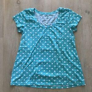 Garnet Hill green polka dot t shirt size PS